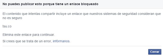 Bloqueo Facebook a TSU
